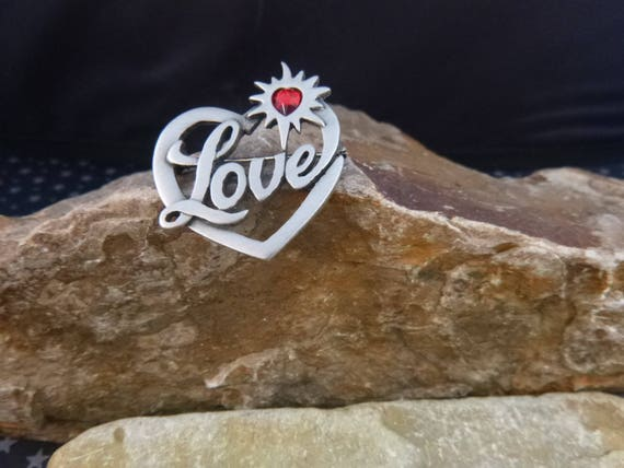 Message of Love Timeless Vintage Pin | JJ Jonette Signed Pewter Heart Brooch | Red Heart within a Heart Love Brooch