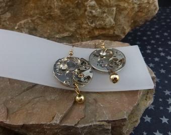 Steampunk Watch Workings Vintage Earrings | Dangling French Wire Mixed Metal  Pierced Earrings with Rhinestones