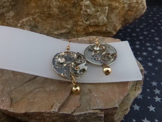 Steampunk Watch Workings Vintage Earrings | Dangling French Wire Mixed Metal  Pierced Earrings with Rhinestones