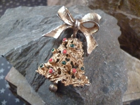 Mid Century Articulated LJM Vintage Christmas Bell on Bow Pin
