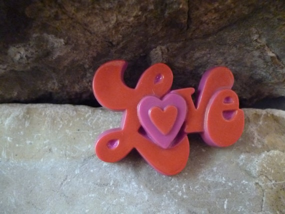 Love. Love. Love. 1970s Thermoset Molded Plastic Red and Pink Groovy Love Valentine Pin