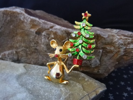 Mouse Christmas Tree Vintage Brooch | Mylu Small Christmas Tree Carried by Cute Little Mouse Vintage Pin | Collectible Book Piece