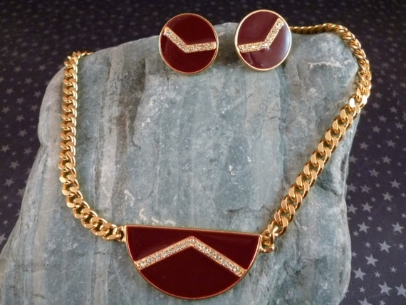 Goldette NY Signed Demi Parure Art Deco Style Necklace and Clip On Screw Back Earrings Maroon Enamel with Rhinestones  Mid Century