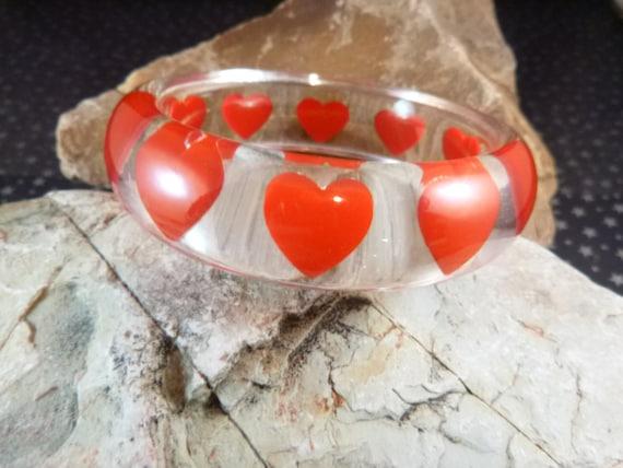 Clear Lucite Embedded Vintage Heart Bangle | Red Heart Bracelet Love Valentine Day Flair Design