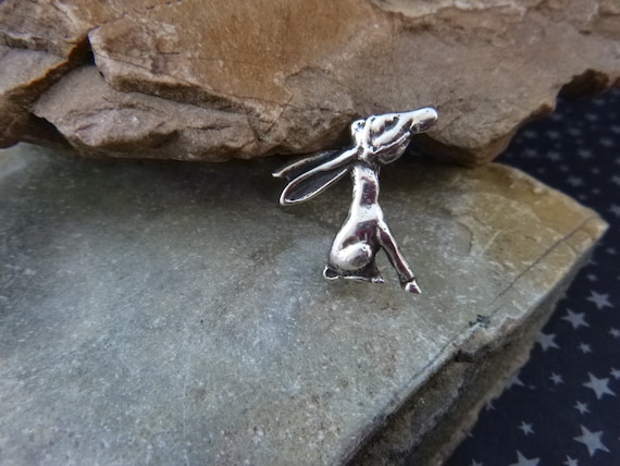 Long Eared Sitting Donkey Small Figural Pin   Democratic Party Symbol   Vintage 1930s Political Pin   Mexican Silver