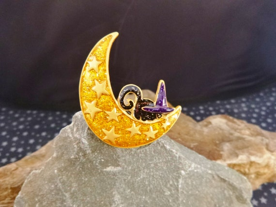Quirky Cute Vintage Glittery Halloween Pin with Black Cat on Moon Wearing Purple Witch Hat