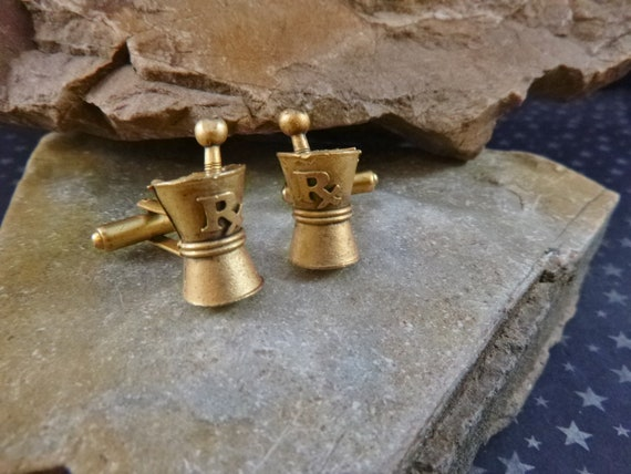1950s Rx Pharmacist Cuff Links | Vintage Pharmacy Antiqued Brass Mortar and Pestle Cufflinks  | Book Piece