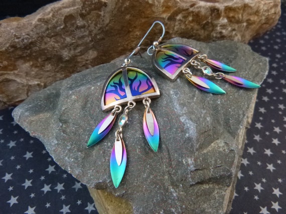 1980s Large Colorful Titanium Vintage Dangling Earrings | Long Trianglar Dangling Anodized Titanium Earrings for Pierced Ears
