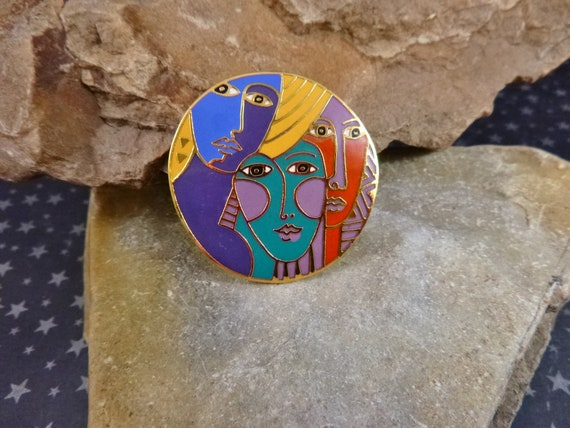 "Uncommon Laurel Burch ""Woman Spirit"" 1993 Cloisonné Enamel Large Vintage Brooch"