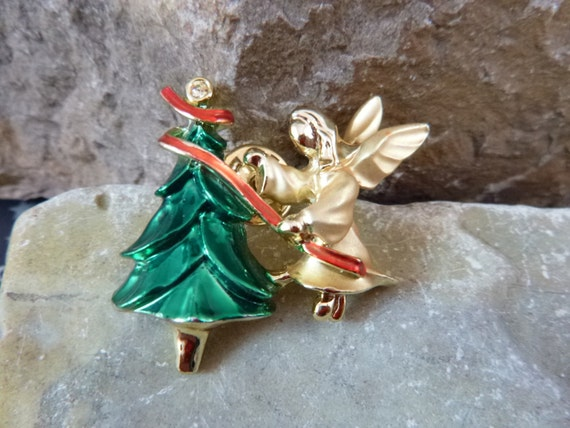 Christmas Angel and Tree Vintage Gigi Giusti Signed Lapel Pin Book Piece