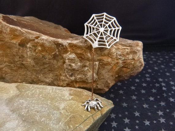 Creepy Crawly Spider Dangling from its Web Vintage Halloween Pin | JJ Articulated Spider Lapel Tack Pin