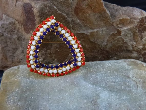 Timeless Patriotic Red White and Blue Vintage Brooch circa l970s   July 4 Vintage Jewelry