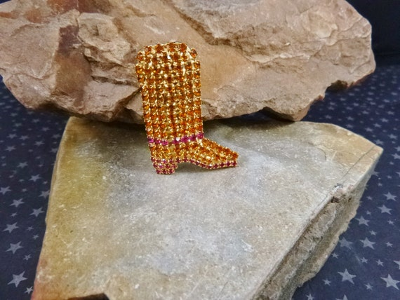 Vintage Signed Dorothy Bauer Rhinestone Cowgirl or Cowboy Sparkling Gold and Pink Boot Pin    Western Themed Brooch