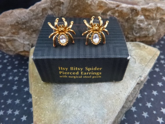 Halloween Itsy Bitsy Crystal Spider Pierced Earrings | 1994 Avon Rarely Found Spooky Post Earrings Book Piece | Original Box