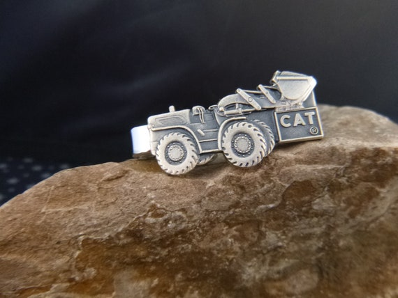 Caterpillar Backhoe Tractor Vintage Tie Clasp | Construction Themed Earth Moving Silver Tone CAT Tie Clip