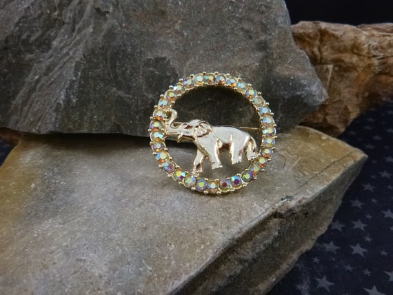 Republican Elephant Vintage Brooch | Good Luck Elephant with Truck Up Figural with Aurora Borealis Rhinestones | Republican Party Symbol Pin