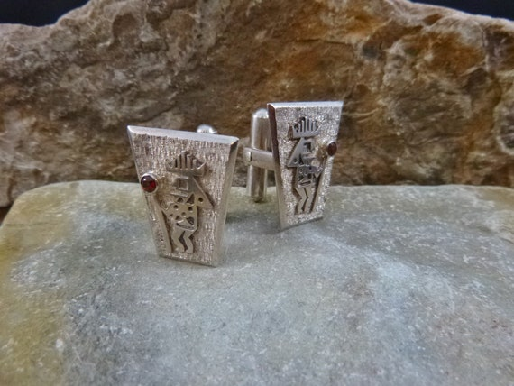 Silver Warrior Vintage Cuff Links | Ecuador 925 Sterling Silver Tribal Flair Ancient Civilization Cufflinks
