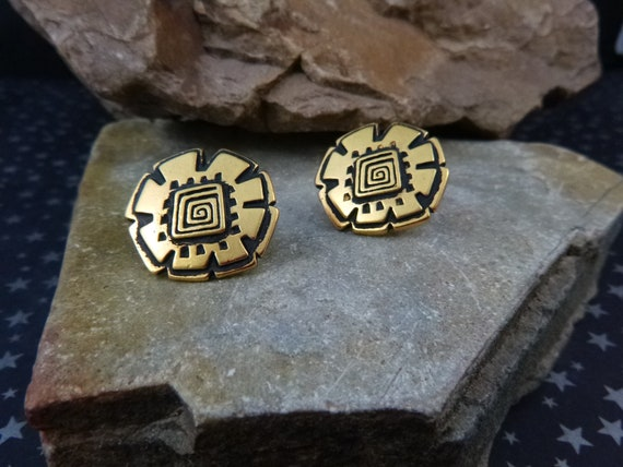 Laurel Burch Abstract Floral Design Vintage Earrings | Antiqued Gold Tone and Black Enamel Post Earrings for Pierced Ears