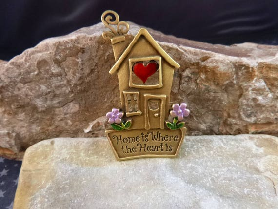 Home is Where the Heart Is Pin | Brass and Enamel Vintage Brooch Signed JJ (Jonette)