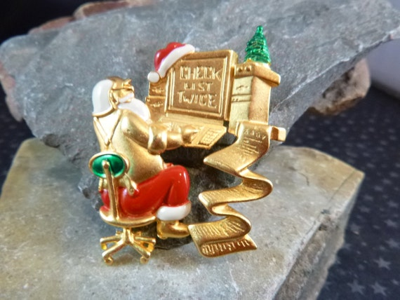 Santa Checking Twice Vintage Christmas Pin Signed Danecraft
