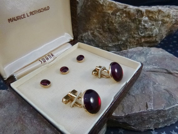 Vintage Cuff Links & Shirt Studs in Original Box | Swank Made for Maurice L Rothschild Department Store | Cranberry Acrylic Mid Century Set