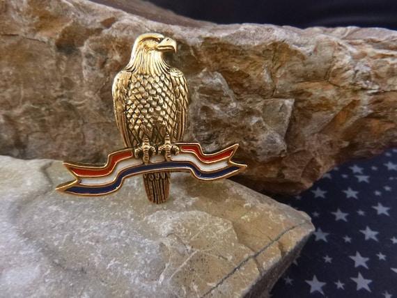 American Eagle on Red White and Blue Ribbon | JJ Jonette  Vintage Patriotic Pin