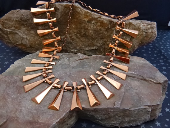 Renoir Mid Century Modernist Copper Cleopatra Style Statement Vintage Necklace circa l950s