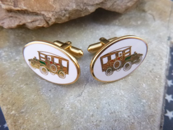 Car Transportation Vehicle Themed Mid Century Cloisonné Enamel Avon Signed Cuff Links / Cufflinks Book Piece circa l955