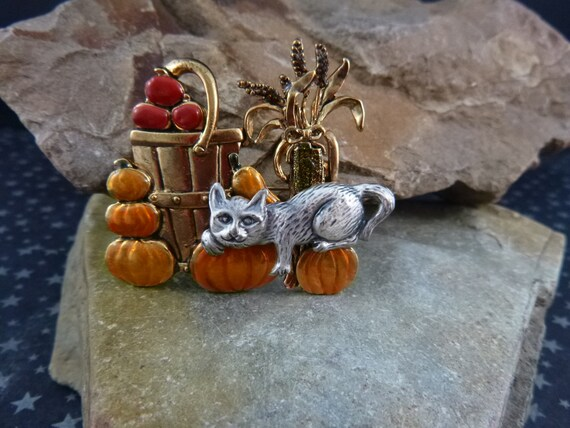 Lazy Fall Harvest Day Scene with Relaxing Cat and Pumpkins, Apples, and Corn Stocks    Vintage Cat Brooch