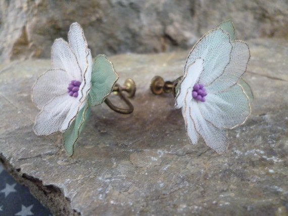 Suffrage Themed Vintage Earrings | Unique Silk Floral Screw Back Art Nouveau Style Earrings