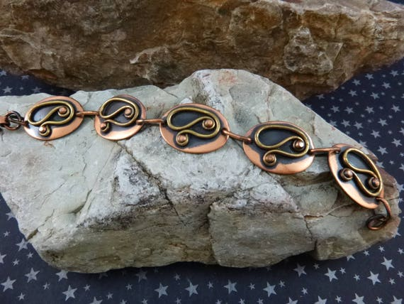 Mid Century Modernist chenet d'HAITI Mixed Metal Bracelet by Winifred Mason Chenet | Statement Copper and Brass 1950s Vintage Bracelet