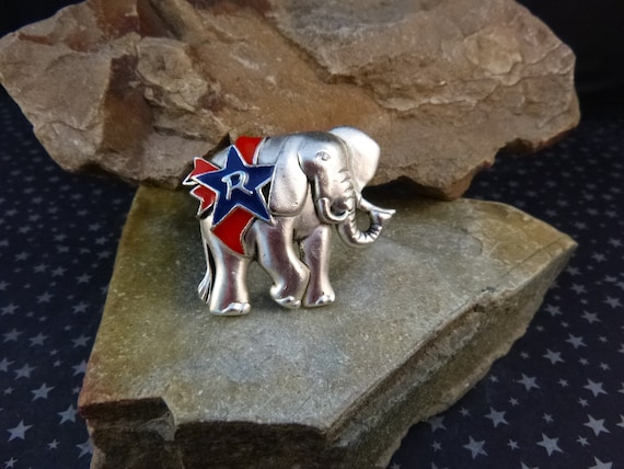 Patriotic Republican Vintage Elephant Pin Red and Blue Silver Tone Pin