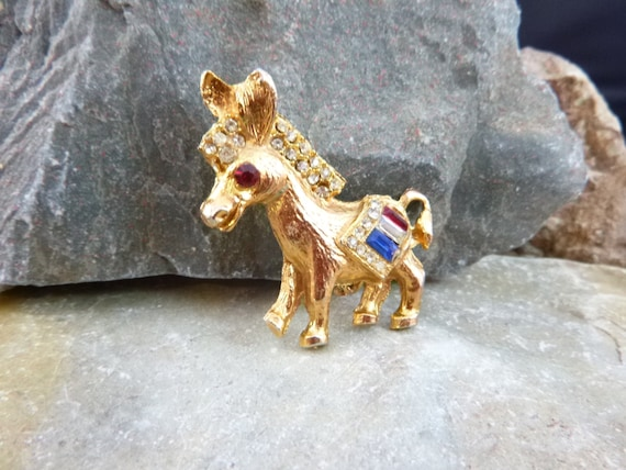 1960s Red White and Blue Democrat Donkey Figural Patriotic Mid Century Vintage Pin Book Piece