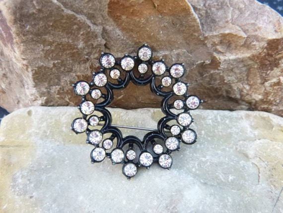 Japanned Black with Clear Rhinestones Double Circles Open Pattern Vintage Brooch Black and White Pin