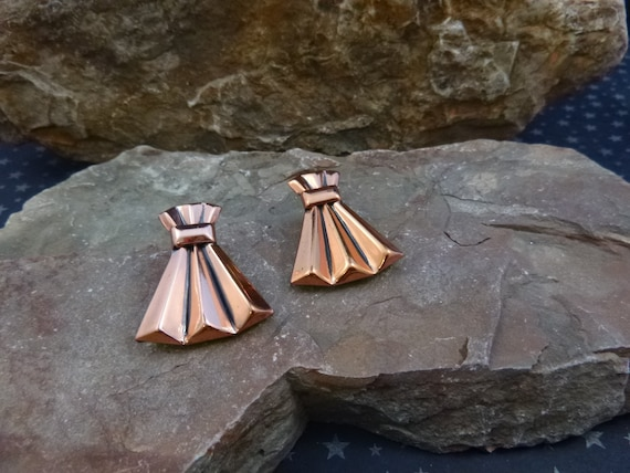 Renoir Mid Century Modernist Copper Large Clip on Bold Vintage Earrings circa l950s