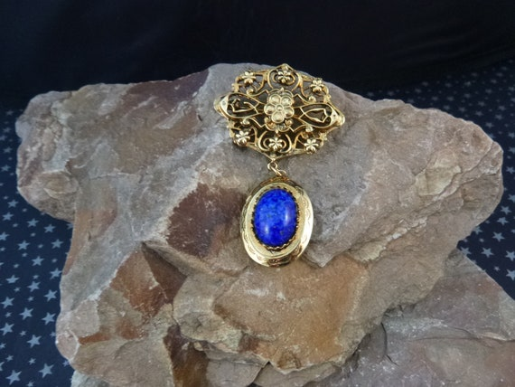 Victorian Revival Style Vintage Locket Brooch   Faux Blue Stone    Dangling Locket Pin Holds Two Pictures