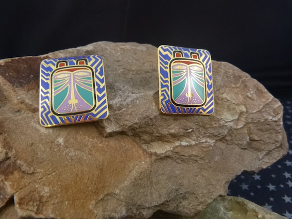 "Laurel Burch Vintage ""Toshio"" Tiger Cat Face Post Enamel Earrings for Pierced Ears"