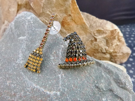"Dorothy Bauer Unusual Halloween Vintage Earrings | Whimsical Witch Hat and Broom ""Wearable Sculpture"" Pierced Earrings 