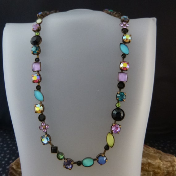 Vintage Sorrelli Statement Necklace | Multicolored Multi-shaped Swarovski Crystals and Semi-Precious Stones | Handcrafted Variable Length