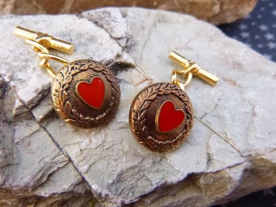 Red Heart Button Vintage Unisex Cuff Links Heart Motif Sweetheart, Valentine, Wedding Cufflinks