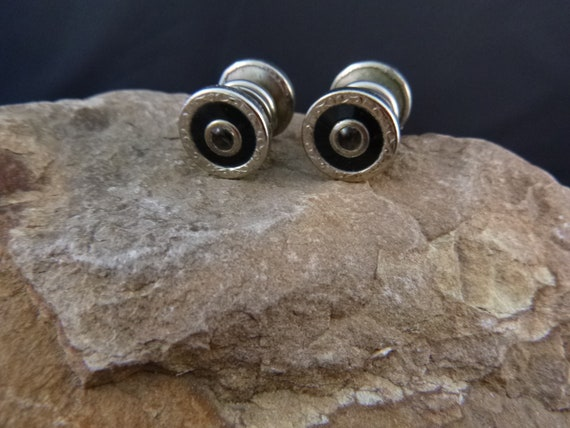 1920s Snap Button Vintage Double Sided Cuff Links | Center Black Stone with Enamel
