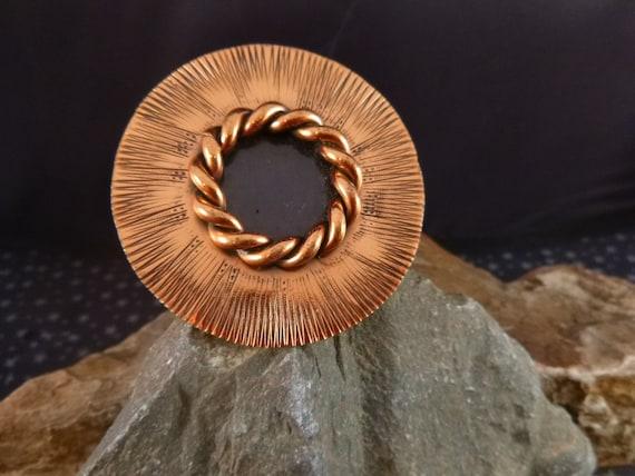 Gret Barkin Handwrought Mid Century Modern Vintage Copper Brooch or Pendant | Large Round Disk Signed Statement Piece
