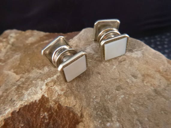 1920s Art Deco Snap Button Double Sided Cuff links | Mother of Pearl Square Cufflinks Book Piece