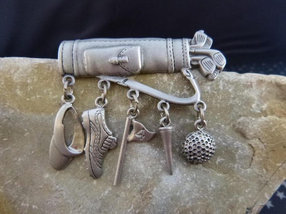 Golf Lover JJ (Jonette) Signed Pewter Vintage Golf Bag and Clubs | Brooch With Dangling Golfing Charms Visor Shoe Flag Tee Ball