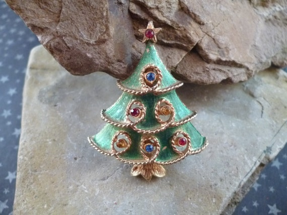J.J. (Jonette) Vintage Green Washed Christmas Tree Pin with Rhinestones Book Piece