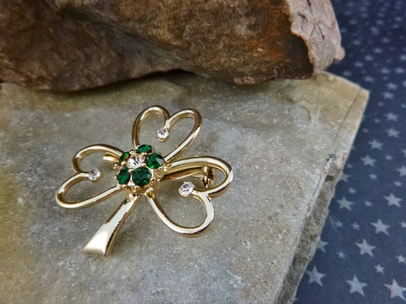 Irish Shamrock Vintage Brooch | Beatrix Signed Rhinestone Shamrock St Patrick's Pin pre-l975