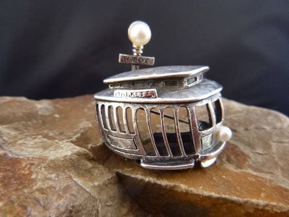 Tortolani Market Street Trolley Vintage Pewter Figural Pin | San Francisco Cable Car Mid Century Brooch with Faux Pearls | Book Piece
