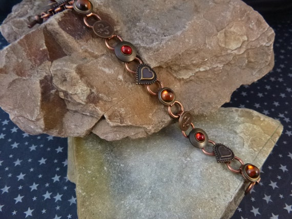 Copper and Brass Vintage Button Bracelet with Hearts Fleur De Lis and Glass Stones