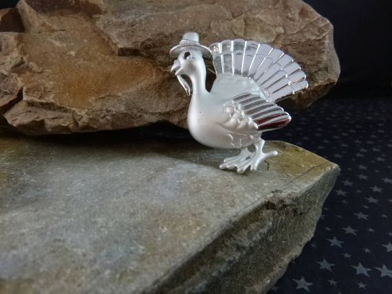Thanksgiving Whimsical Turkey with Pilgrim Hat Vintage Silver Tone AJC Holiday Pin