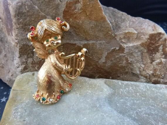 Little Angel Harpist Mylu Vintage Christmas Brooch Collectible Book Piece